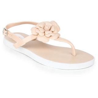 Do Bhai Women's Flower Sandals Cream