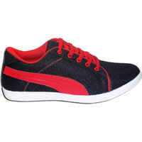 Style98 Stylish Men's Black And Red Mesh Synthetic Running Shoes