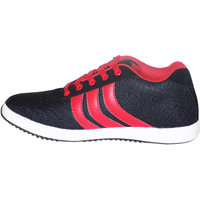 Style98 Men's Black And Red Mesh Synthetic Running Shoes