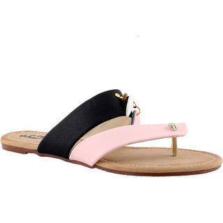 Totes Gallore Womens Strapy Casual Two Tone Flat Slip On - Pink