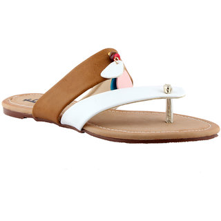 Totes Gallore Womens Strapy Casual Two Tone Flat Slip On - Nude