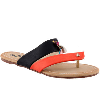 Totes Gallore Womens Strapy Casual Two Tone Flat Slip On - Orange