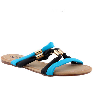 Totes Gallore Womens Strapy Zig Zag Casual Two Tone Flat Slip On - Blue
