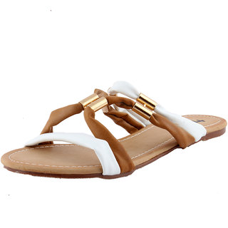 Totes Gallore Womens Strapy Zig Zag Casual Two Tone Flat Slip On - Nude