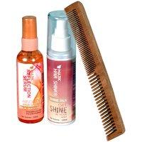 Combo Pack Of Majik Serum Shiner And Neem Wood Comb Model N0.2, Set Of 3