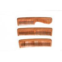 Combo Of Majik Neem Wood Comb Model No.5 Neem Wood Comb Modelno.2 And Neem Wood Comb Model No.1, Set Of 3