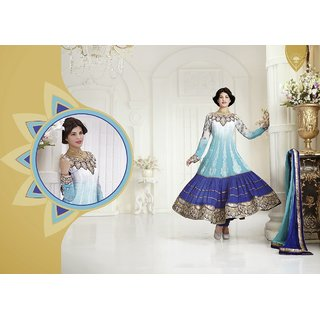 White & Sky Blue Shaded Salwar Suit