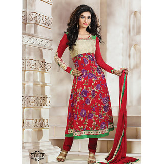Tempting Red Churidar Salwar Suit