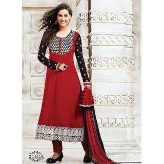 Delightful Red Printed Churidar Salwar Suit