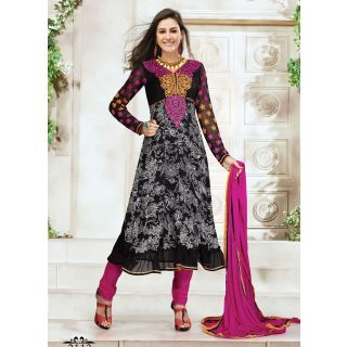 Awesome Black Designer Churidar Salwar Suit