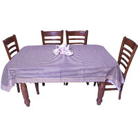 E-Retailers Classic Small Brown Check Design With Golden Lace 8 Seater Dinning Table Cover