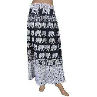 Pezzava: Women's Wear Wrapround Elephant Design Long Skirt SKT-WLC-A0195