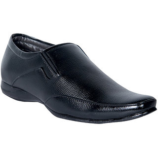 Panahi Synthetic Leather Black Formal Shoes For Men's