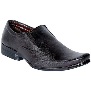 Panahi Men's Synthetic Leather Brown Formal Shoes