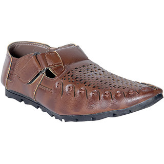 Panahi Men's Synthetic Leather Brown Pathani Sandals