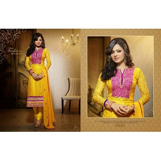Pleasant Yellow Churidar Salwar Suit