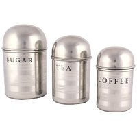 Boskina Stainless Steel Tool Touch Dome Shape Tea, Sugar & Coffee Canister