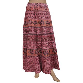 Pezzava: Women's Wear Cotton Wrapround Animals Design Long Skirt SKT-WLC-A0108