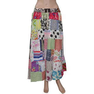 Pezzava: Ethnic Style Block Print Women's Wear Cotton Patch Work SKT-PCL-A0084