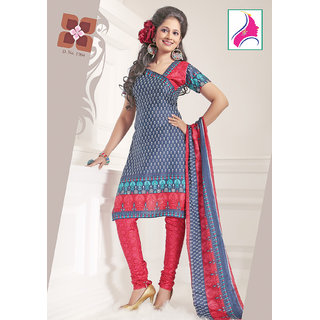 Riti Riwaz Ethereal Navy Blue & Cherry Cotton Designer Suit - 1004