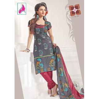 Riti Riwaz Magnificent Black  & Red Cotton Designer Suit - 1007