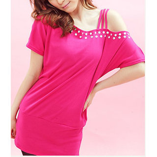 Rhinestone Studed One-shoulder T-shirt Blouse Tops Dress Pink