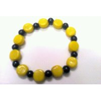 Colorful Bead Bracelet Yellow And Black. GLITZY BY ROOHIE