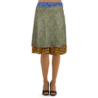 Pezzava: Wraparound Knee Length Mix Rayon Silk Reversible Skirt SKT-WKS-A0034
