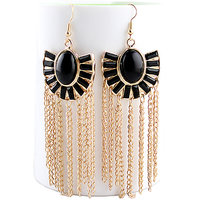 Roopa Vani Jewel Touch Fashion Statement Black Gemstone And Gold Tassel Dangler Earrings