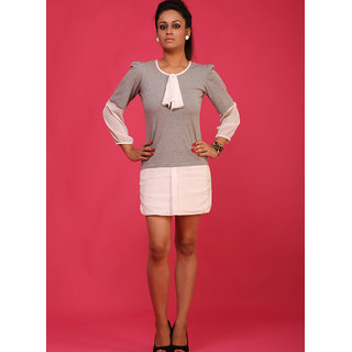 Schwof Grey Front Ruffle Dress