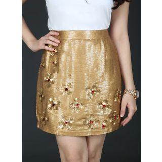 Schwof Gold Flower Skirt