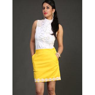 Schwof Yellow Lace Skirt