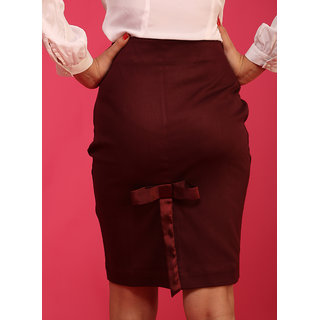 Schwof Maroon Back Bow Skirt