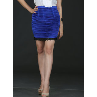 Schwof Blue Pleated Skirt