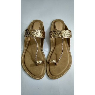 Royals Golden Sunny Neews Flat Sandals Party Wear Sandal For Women