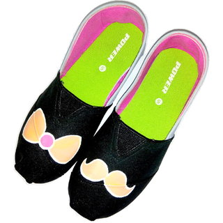 Funky N Trendy Bow N Moustache Canvas Espadrille Flats