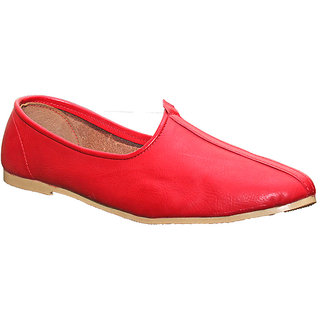Port RED GENUINE LEATHER Jalsa Jutti With Brown Sole For Men