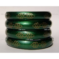 Green Floral Jalwa Hand Crafted Glass Bangles/kara (A-102)