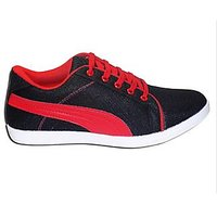 MenS Black And Red Mesh Synthetic Running Shoes