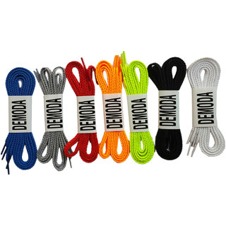 Demoda Shoe Laces(Pack Of 7 PairBlue,Grey,Red,Orange,Green,Black,White)