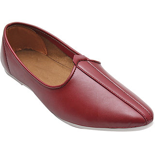 MAROON GENUINE LEATHER JALSA SLIP-ON WITH WHITE SOLE BY PORT