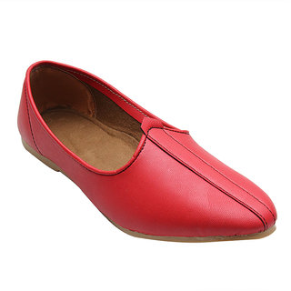 RED GENUINE LEATHER JALSA SLIP-ON WITH BROWN SOLE BY PORT