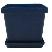 SGS 4 Inch Planter With Base Tray -Set Of 6 (Blue)