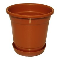 SGS 10 Inch Planter With Base Tray - Set Of 2 (Teracotta)