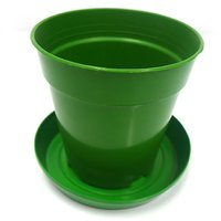 SGS 4 1/2 Inch Planter With Base Tray - Set Of 10 (Green)