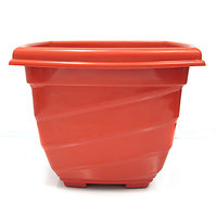 SGS 11 Inch Square Planter With Base Tray -Set Of 2 (Terracotta)