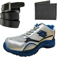 Combo Of Lotto Running Shoes With FastFox Belt  Wallet (AR2446FF-BLK-BELT-WLT)