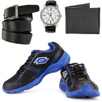 Combo Of Lotto Pounce Running Shoes With FastFox Watch, Belt  Wallet (AR3162)