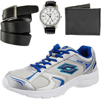 Combo Of Lotto Trojan Sport Shoes With Rio Watch, Belt, Wallet (AR3192)
