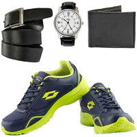 Combo Of Lotto Tempo Sport Shoes With FastFox Watch, Belt, Wallet (AR2445)
